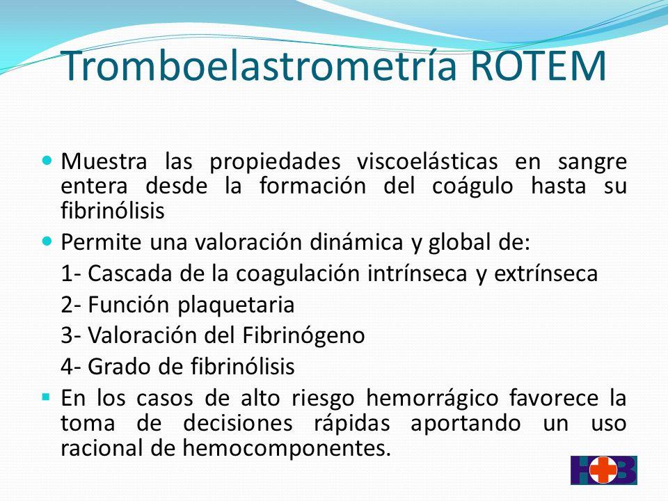 Tromboelastrometría ROTEM Muestra las propiedades viscoelásticas en sangre entera desde la formación del coágulo hasta su fibrinólisis Permite una valoración dinámica y global de: 1- Cascada de la coagulación intrínseca y extrínseca 2- Función plaquetaria 3- Valoración del Fibrinógeno 4- Grado de fibrinólisis En los casos de alto riesgo hemorrágico favorece la toma de decisiones rápidas aportando un uso racional de hemocomponentes.