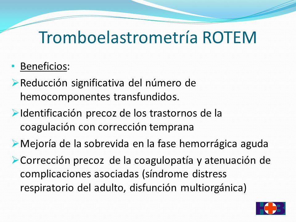 Tromboelastrometría ROTEM Beneficios: Reducción significativa del número de hemocomponentes transfundidos.