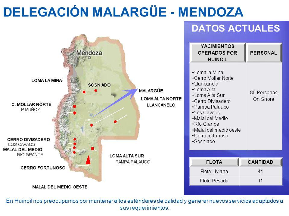 DELEGACIÓN MALARGÜE - MENDOZA DATOS ACTUALES YACIMIENTOS OPERADOS POR HUINOIL PERSONAL Loma la Mina Cerro Mollar Norte Llancanelo Loma Alta Loma Alta