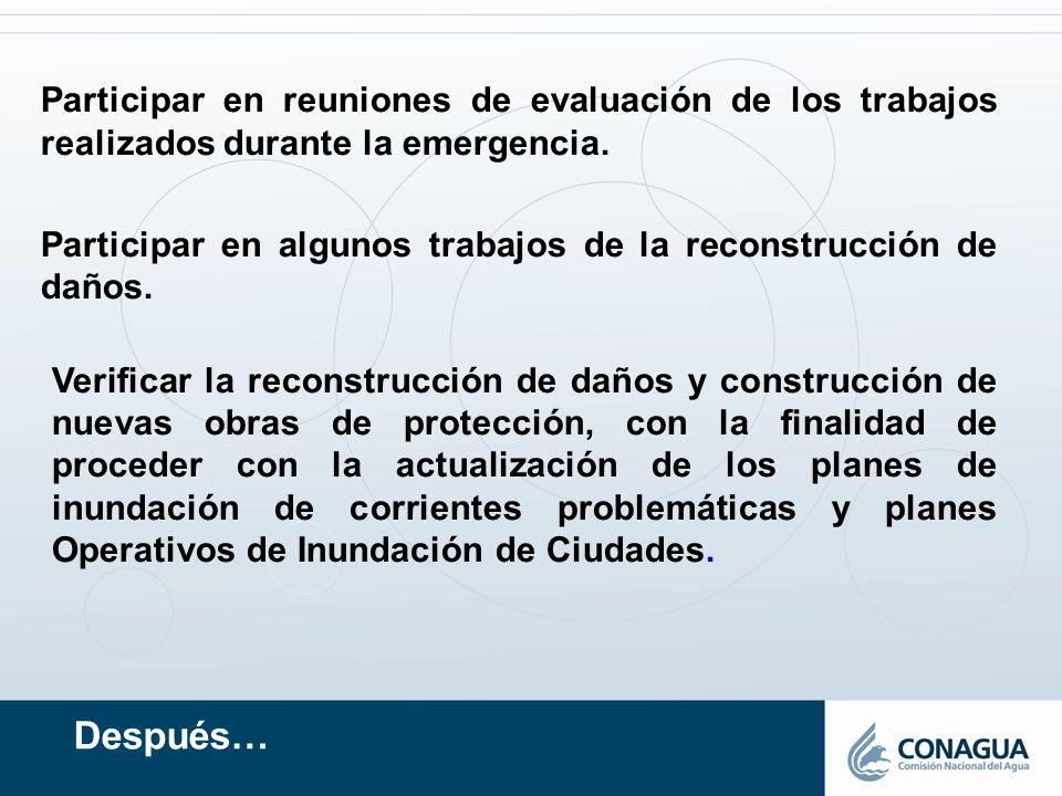 Después… Participar en reuniones de evaluación de los trabajos realizados durante la emergencia. Participar en algunos trabajos de la reconstrucción d