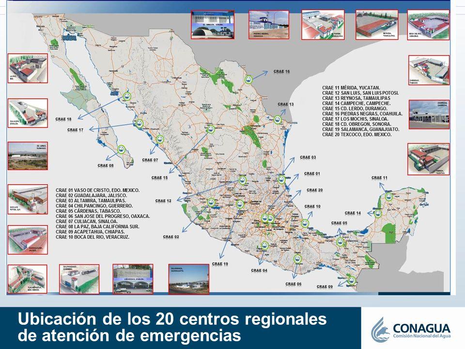 Ubicación de los 20 centros regionales de atención de emergencias