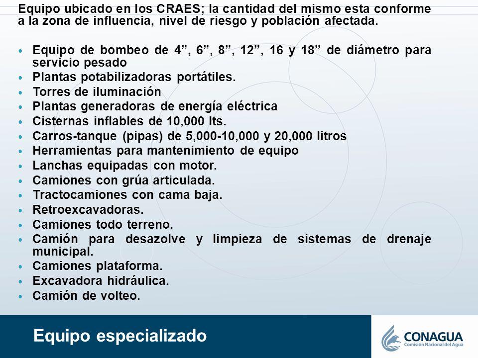 Equipo especializado Equipo ubicado en los CRAES; la cantidad del mismo esta conforme a la zona de influencia, nivel de riesgo y población afectada. E