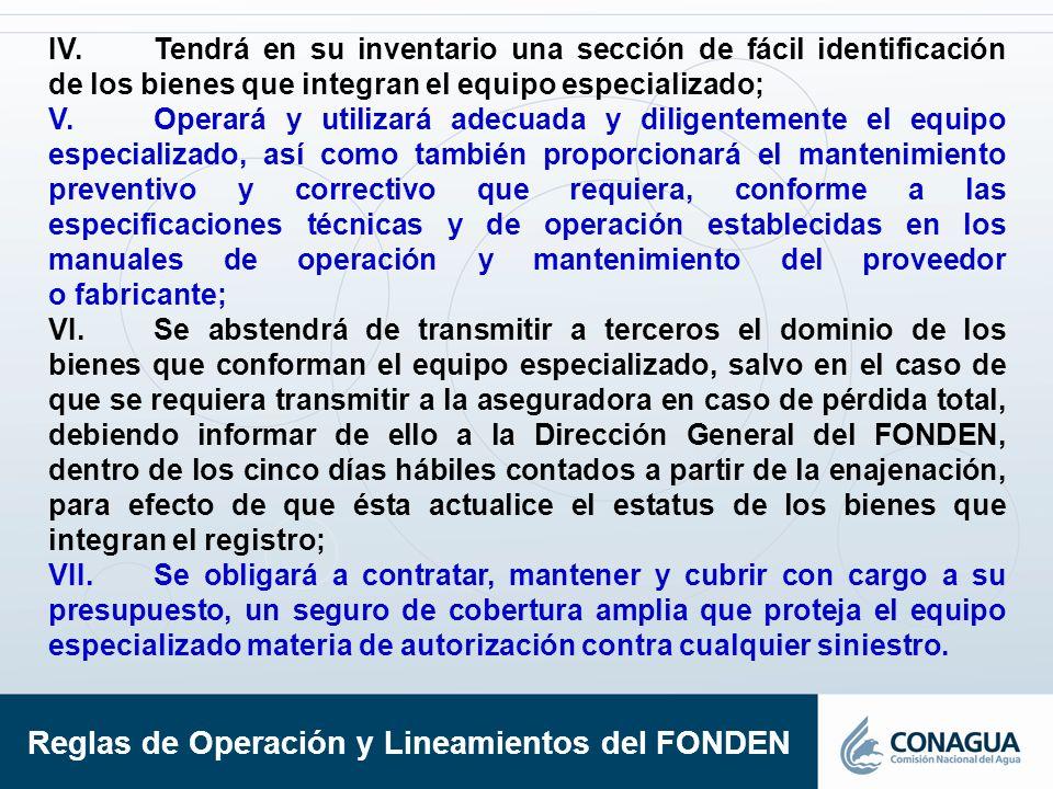 IV.Tendrá en su inventario una sección de fácil identificación de los bienes que integran el equipo especializado; V.Operará y utilizará adecuada y di