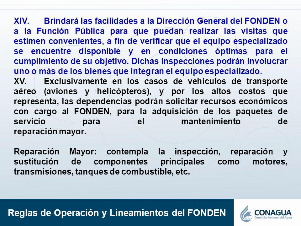 XIV.Brindará las facilidades a la Dirección General del FONDEN o a la Función Pública para que puedan realizar las visitas que estimen convenientes, a