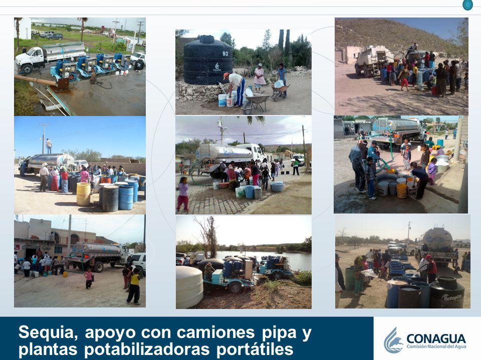 Sequia, apoyo con camiones pipa y plantas potabilizadoras portátiles