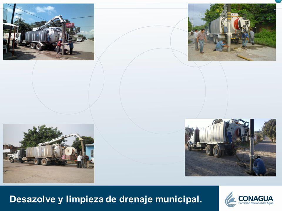 Desazolve y limpieza de drenaje municipal.