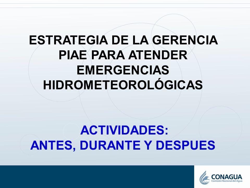 ESTRATEGIA DE LA GERENCIA PIAE PARA ATENDER EMERGENCIAS HIDROMETEOROLÓGICAS ACTIVIDADES: ANTES, DURANTE Y DESPUES