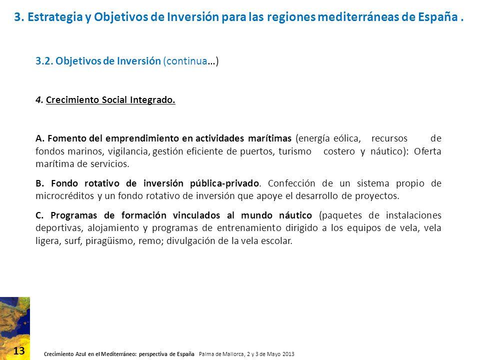Crecimiento Azul en el Mediterráneo: perspectiva de España Palma de Mallorca, 2 y 3 de Mayo 2013 13 3.