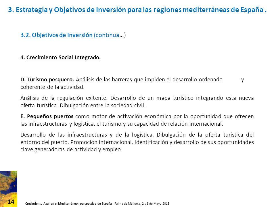Crecimiento Azul en el Mediterráneo: perspectiva de España Palma de Mallorca, 2 y 3 de Mayo 2013 14 3.