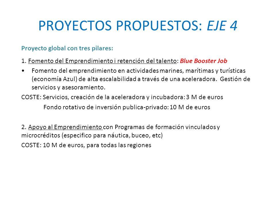 PROYECTOS PROPUESTOS: EJE 4 Proyecto global con tres pilares: 1.