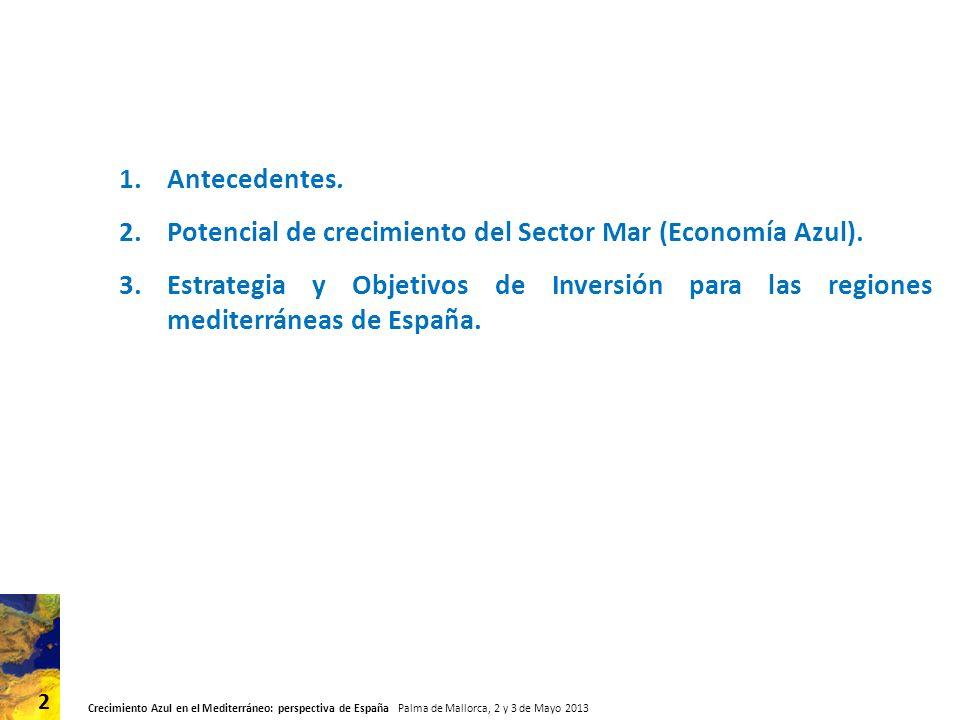 Crecimiento Azul en el Mediterráneo: perspectiva de España Palma de Mallorca, 2 y 3 de Mayo 2013 3 1.