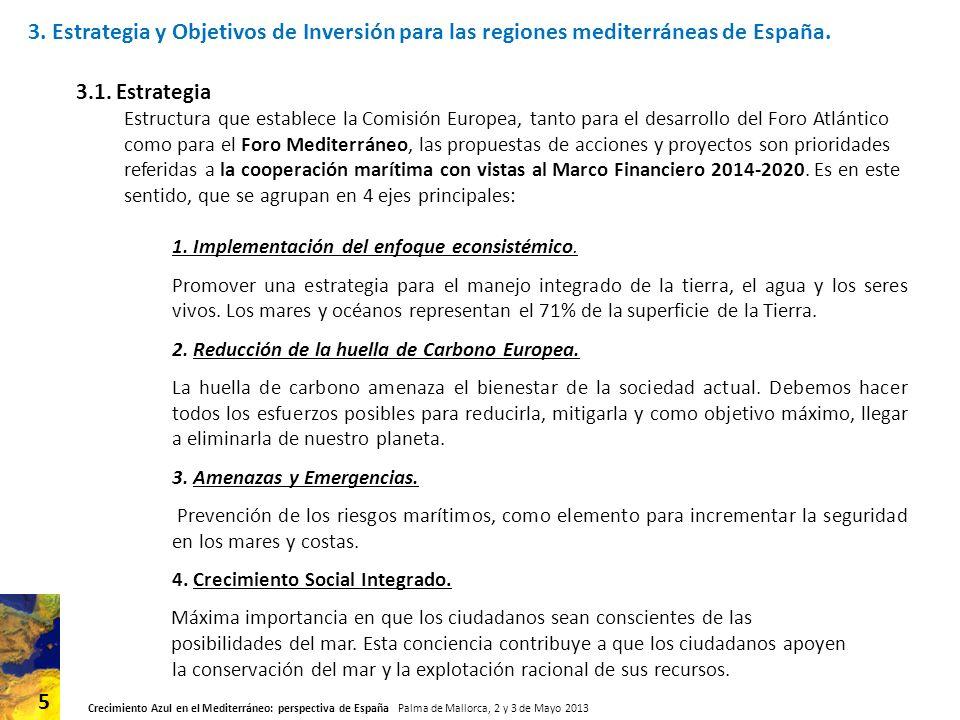 Crecimiento Azul en el Mediterráneo: perspectiva de España Palma de Mallorca, 2 y 3 de Mayo 2013 5 3.