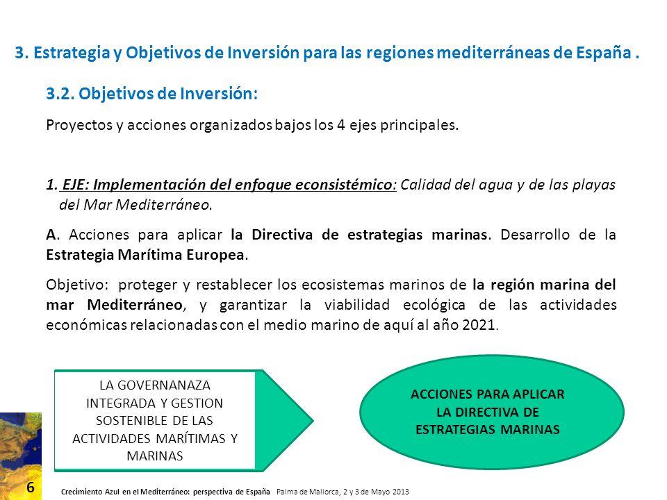 Crecimiento Azul en el Mediterráneo: perspectiva de España Palma de Mallorca, 2 y 3 de Mayo 2013 6 3.
