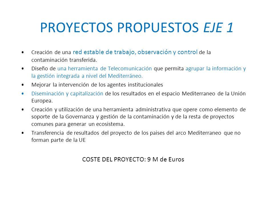 PROYECTOS PROPUESTOS EJE 1 Creación de una red estable de trabajo, observación y control de la contaminación transferida.