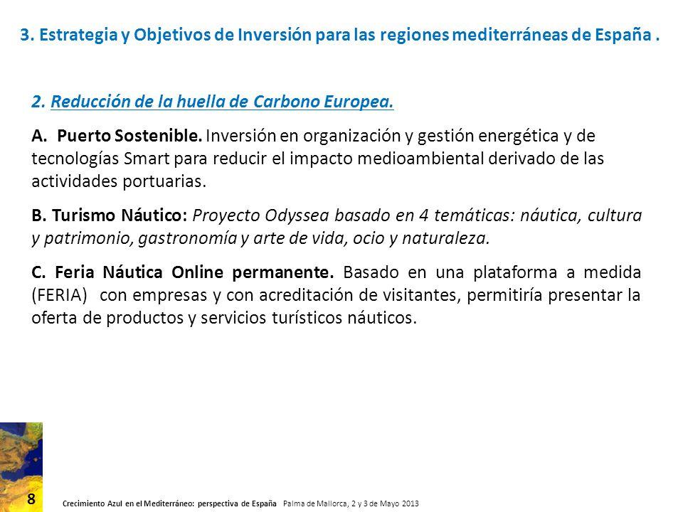 Crecimiento Azul en el Mediterráneo: perspectiva de España Palma de Mallorca, 2 y 3 de Mayo 2013 9 3.