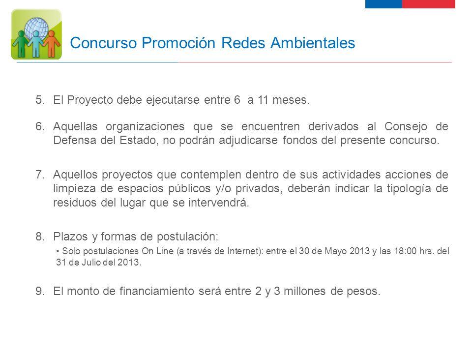 14 Concurso Promoción Redes Ambientales Requisitos para la Admisibilidad de Proyectos a) RUT de la organización, se acepta RUT provisorio.