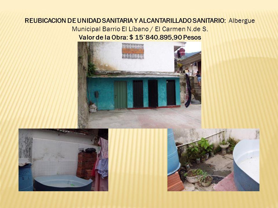 REUBICACION DE UNIDAD SANITARIA Y ALCANTARILLADO SANITARIO: Albergue Municipal Barrio El Líbano / El Carmen N.de S. Valor de la Obra: $ 15840.895,90 P