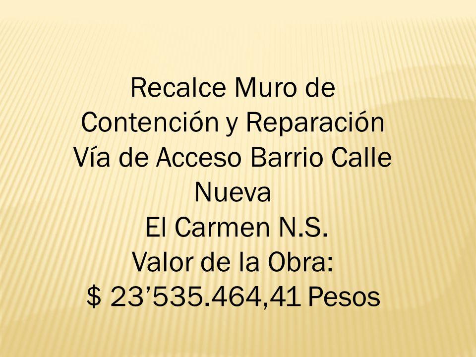 Recalce Muro de Contención y Reparación Vía de Acceso Barrio Calle Nueva El Carmen N.S. Valor de la Obra: $ 23535.464,41 Pesos