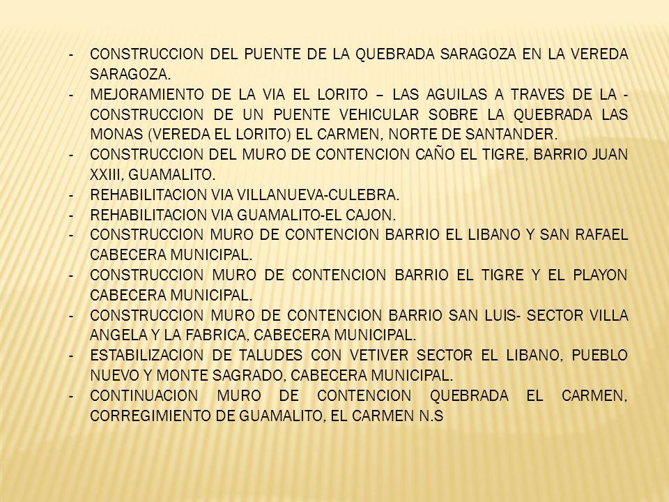 -CONSTRUCCION DEL PUENTE DE LA QUEBRADA SARAGOZA EN LA VEREDA SARAGOZA. -MEJORAMIENTO DE LA VIA EL LORITO – LAS AGUILAS A TRAVES DE LA - CONSTRUCCION