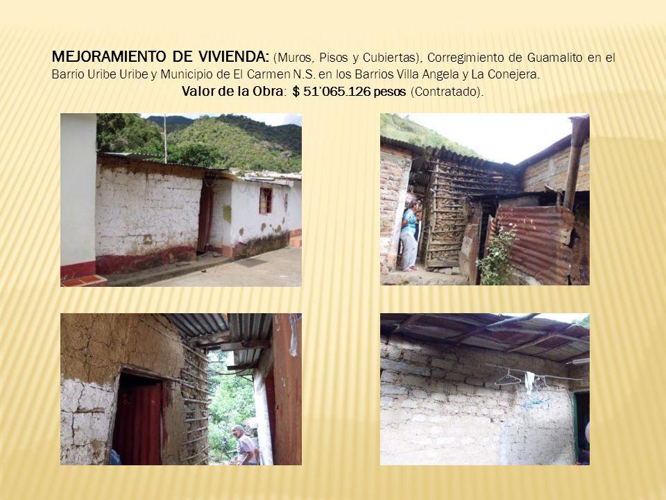 MEJORAMIENTO DE VIVIENDA: (Muros, Pisos y Cubiertas), Corregimiento de Guamalito en el Barrio Uribe Uribe y Municipio de El Carmen N.S. en los Barrios