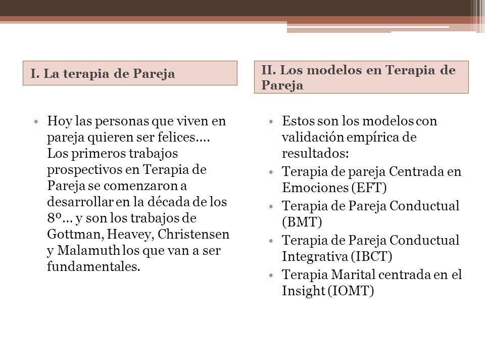 I. La terapia de Pareja II. Los modelos en Terapia de Pareja Hoy las personas que viven en pareja quieren ser felices…. Los primeros trabajos prospect