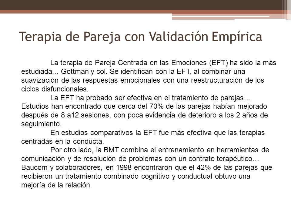 Terapia de Pareja con Validación Empírica La terapia de Pareja Centrada en las Emociones (EFT) ha sido la más estudiada... Gottman y col. Se identific