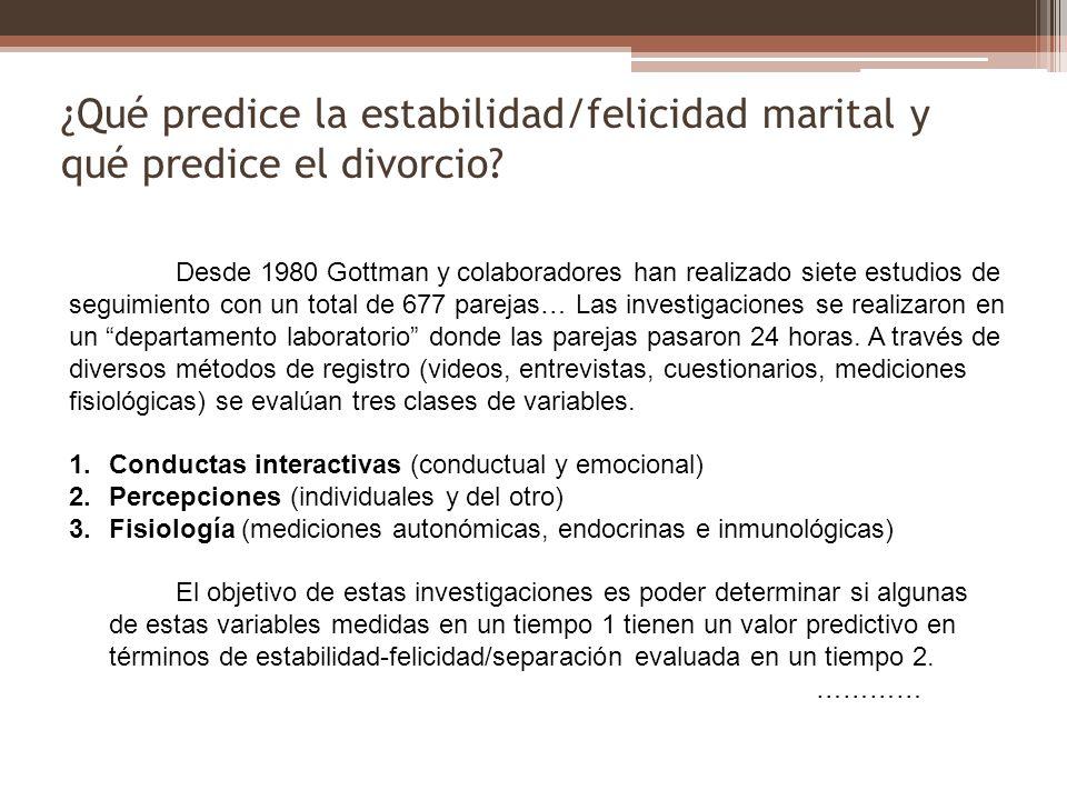 ¿Qué predice la estabilidad/felicidad marital y qué predice el divorcio? Desde 1980 Gottman y colaboradores han realizado siete estudios de seguimient