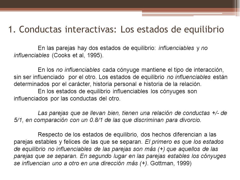1. Conductas interactivas: Los estados de equilibrio En las parejas hay dos estados de equilibrio: influenciables y no influenciables (Cooks et al, 19