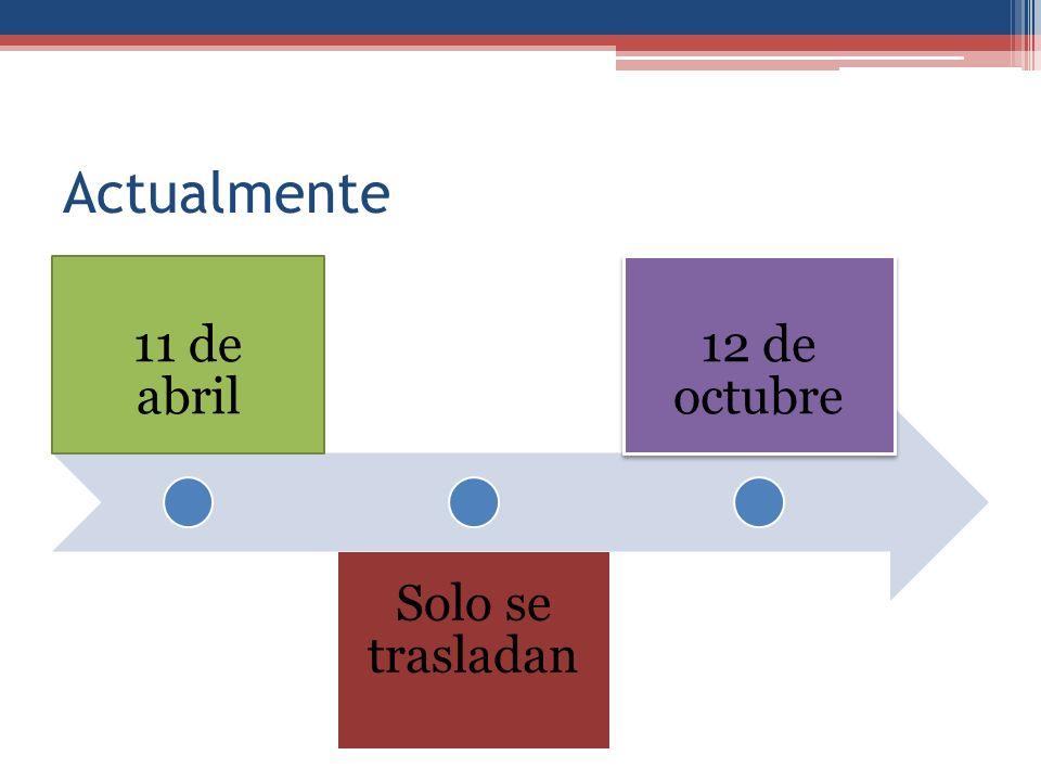 Actualmente 11 de abril Solo se trasladan 12 de octubre