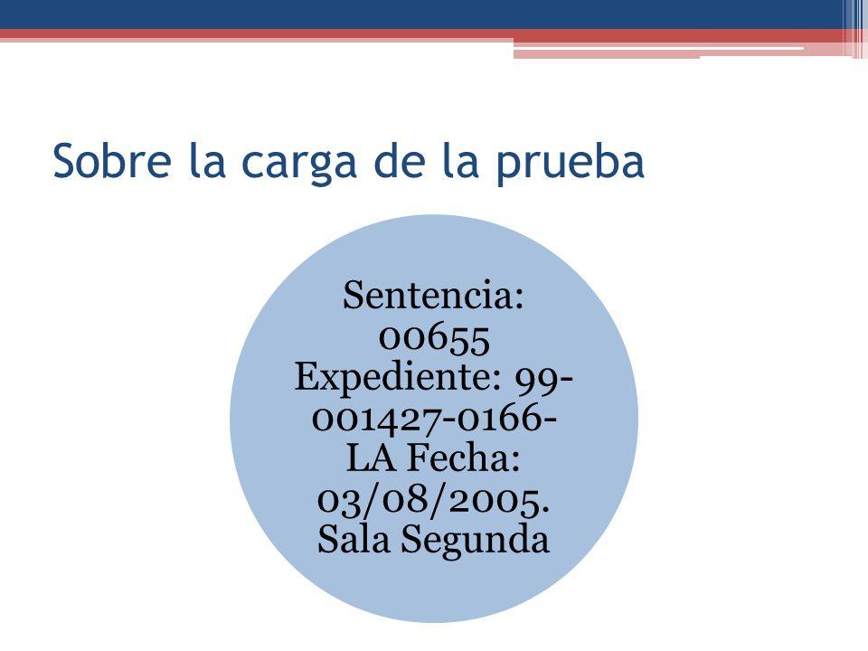 Sobre la carga de la prueba Sentencia: 00655 Expediente: 99- 001427-0166- LA Fecha: 03/08/2005. Sala Segunda