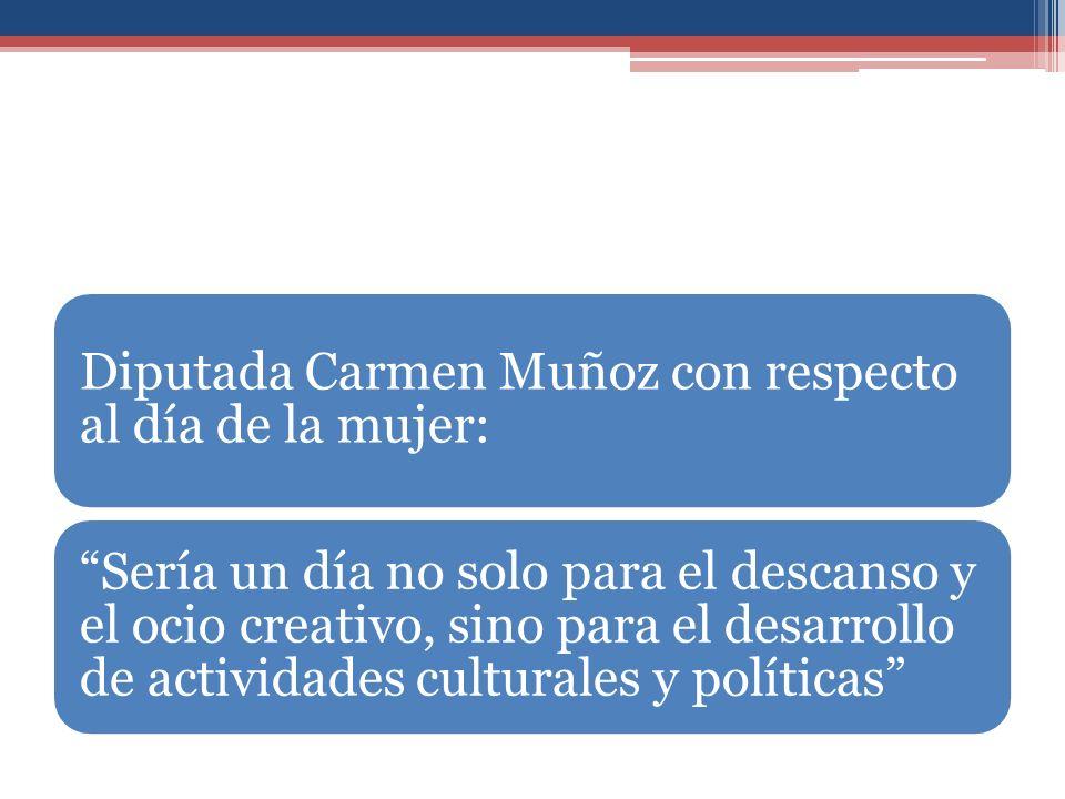 Diputada Carmen Muñoz con respecto al día de la mujer: Sería un día no solo para el descanso y el ocio creativo, sino para el desarrollo de actividades culturales y políticas