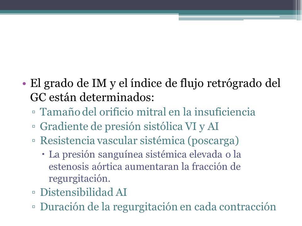 Fracción de regurgitación Volumen de RM/ Vol.