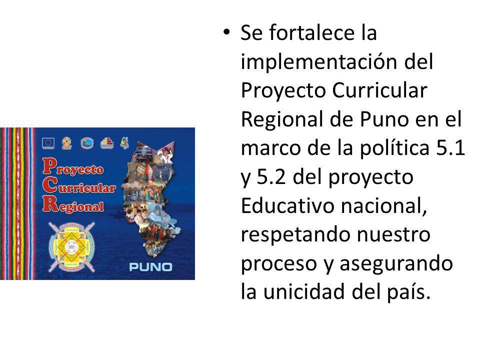 Se fortalece la implementación del Proyecto Curricular Regional de Puno en el marco de la política 5.1 y 5.2 del proyecto Educativo nacional, respetan