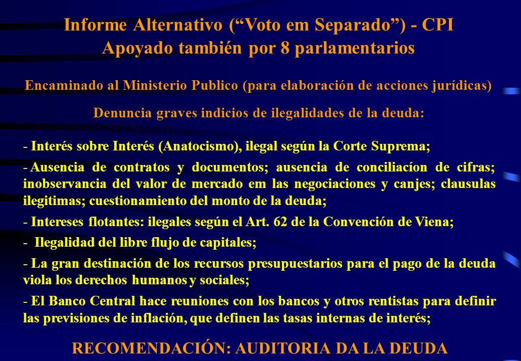 Informe Alternativo (Voto em Separado) - CPI Apoyado también por 8 parlamentarios Encaminado al Ministerio Publico (para elaboración de acciones juríd