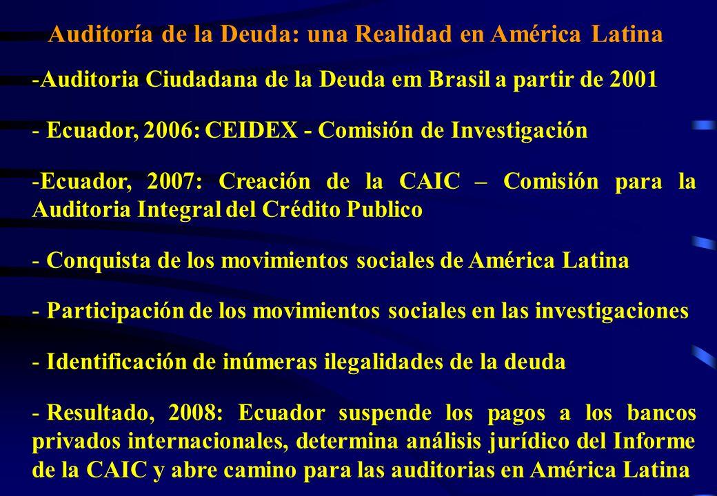 Auditoría de la Deuda: una Realidad en America Latina - Reunión de la ALBA (nov/2008): Bolivia y Venezuela anuncian la intención de hacer auditorías de la deuda - Seminario Internacional Auditoría de la Deuda en América Latina en Brasília (nov/2008): Intercambio de los resultados de la auditoría ecuatoriana - Reunión de miembros de la CAIC con el Presidente de la Camara de Diputados de Brasil durante el Seminario - Resultado del Seminario: Creación de la Comisión Parlamentaria de Inquerito (CPI) de la Deuda en Brasil (dec/2008)