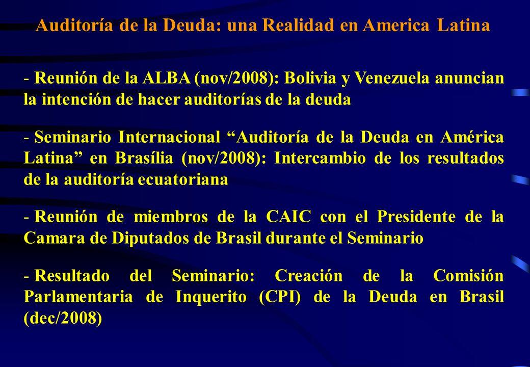 Auditoría de la Deuda: una Realidad en América Latina - Ecuador, 2009: Anulación del 70% de la deuda externa comercial con la banca privada (Bonos 2012 y 2030).