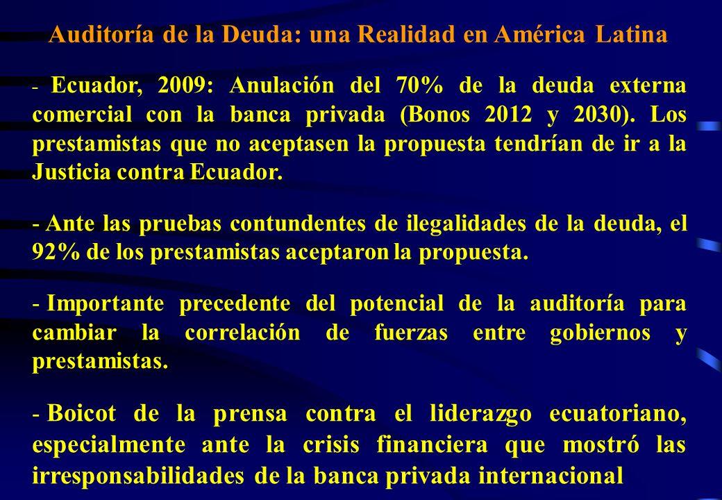 Auditoría de la Deuda: una Realidad en América Latina - Ecuador, 2009: Anulación del 70% de la deuda externa comercial con la banca privada (Bonos 201