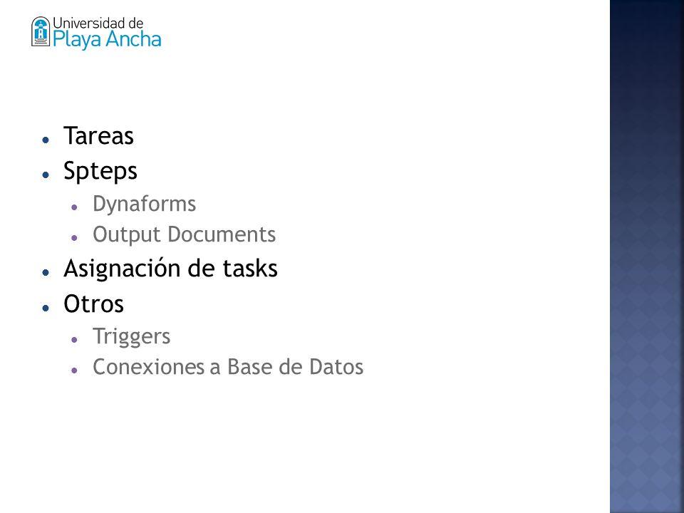 Tareas Spteps Dynaforms Output Documents Asignación de tasks Otros Triggers Conexiones a Base de Datos