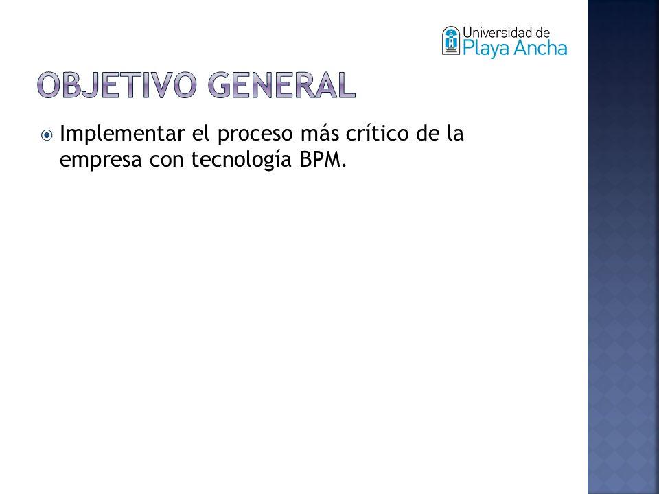 Implementar el proceso más crítico de la empresa con tecnología BPM.