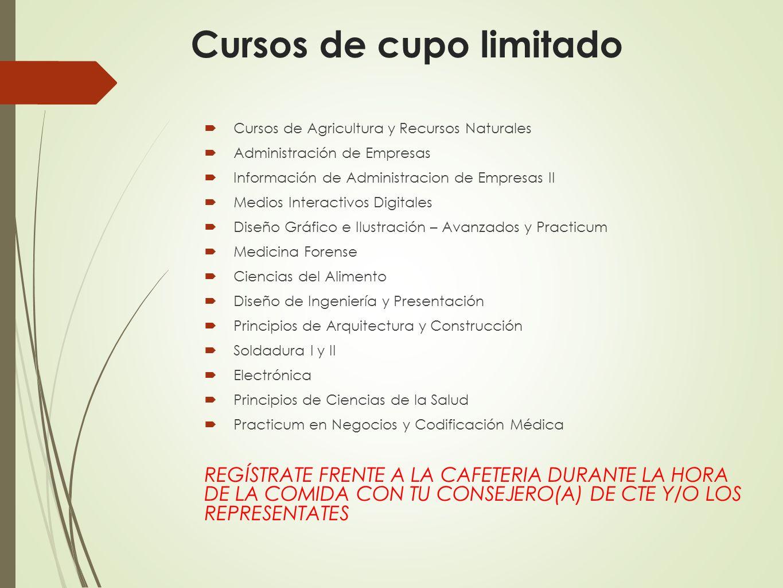 Cursos de cupo limitado Cursos de Agricultura y Recursos Naturales Administración de Empresas Información de Administracion de Empresas II Medios Inte