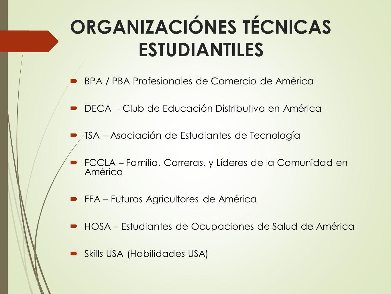ORGANIZACIÓNES TÉCNICAS ESTUDIANTILES BPA / PBA Profesionales de Comercio de América DECA - Club de Educación Distributiva en América TSA – Asociación