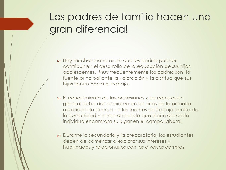 Los padres de familia hacen una gran diferencia! Hay muchas maneras en que los padres pueden contribuir en el desarrollo de la educación de sus hijos