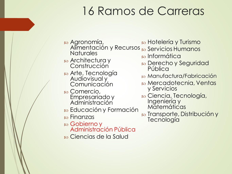 16 Ramos de Carreras Agronomía, Alimentación y Recursos Naturales Architectura y Construcción Arte, Tecnología Audiovisual y Comunicación Comercio, Em