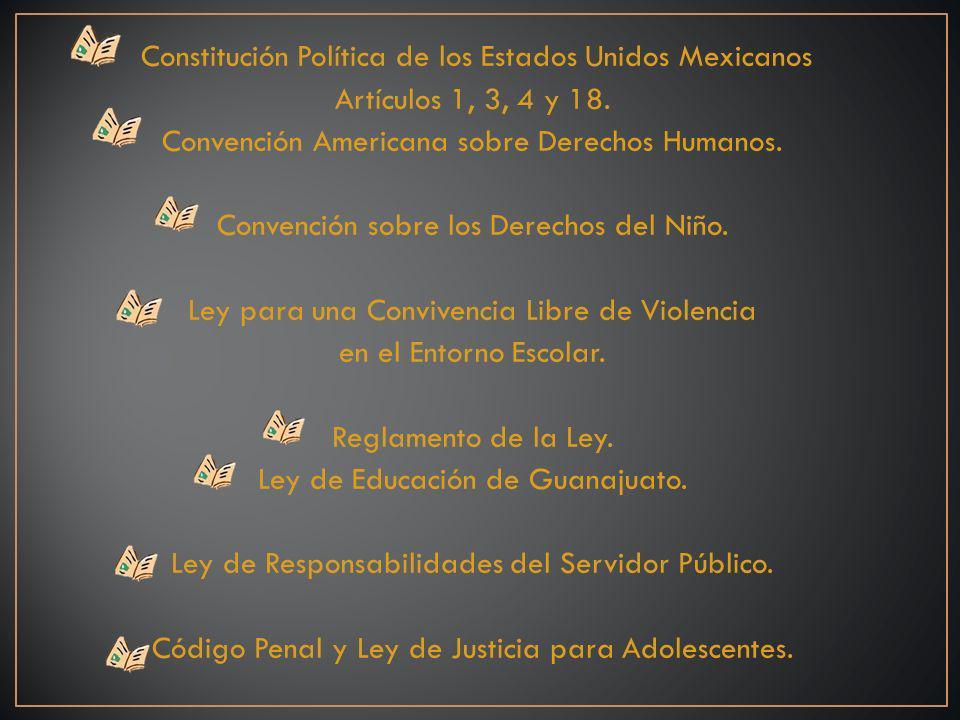 Constitución Política de los Estados Unidos Mexicanos Artículos 1, 3, 4 y 18.