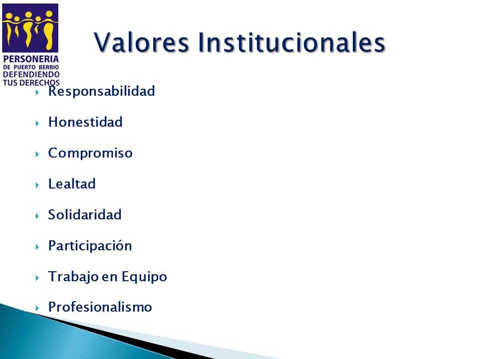 Responsabilidad Honestidad Compromiso Lealtad Solidaridad Participación Trabajo en Equipo Profesionalismo