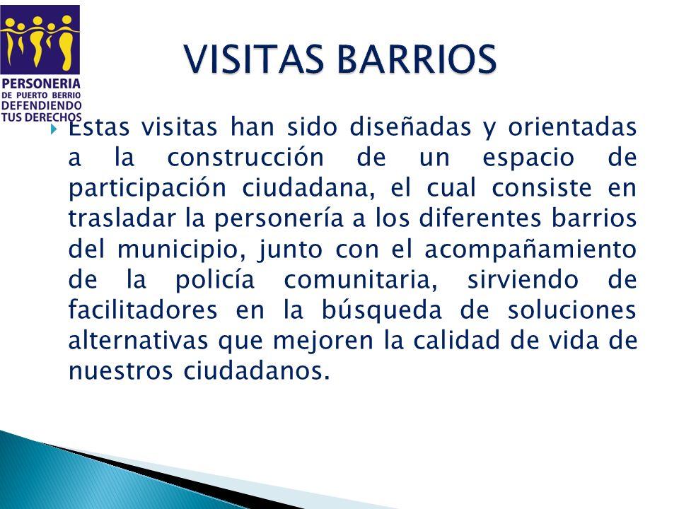 Estas visitas han sido diseñadas y orientadas a la construcción de un espacio de participación ciudadana, el cual consiste en trasladar la personería