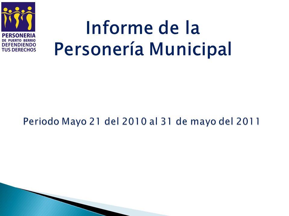PRESENTACION Presento ante el Honorable Concejo Municipal informe de gestión de la personería municipal del periodo comprendido del 21 de mayo 2010 al 31 de mayo de 2011.