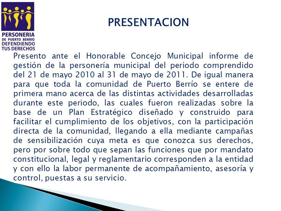 PRESENTACION Presento ante el Honorable Concejo Municipal informe de gestión de la personería municipal del periodo comprendido del 21 de mayo 2010 al