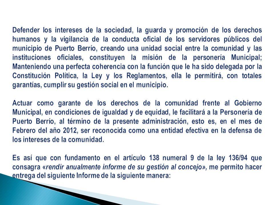 Estructura del informe 1-Presentación de Misión, Visión, Valores Institucionales de la Personería Municipal y Personería Antes, Personería Hoy.