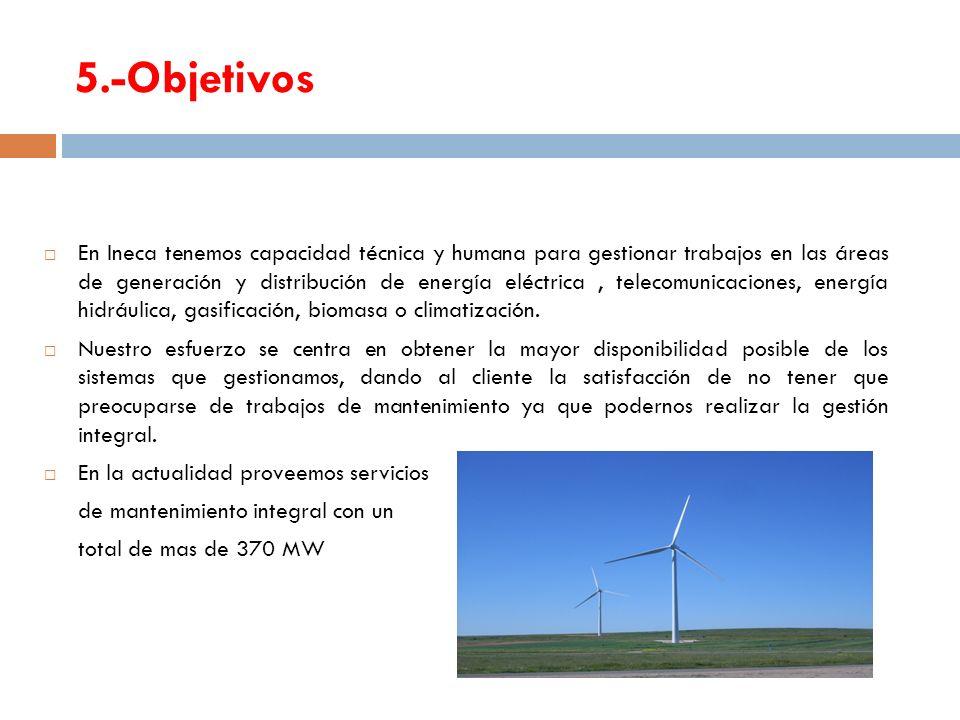 5.-Objetivos En Ineca tenemos capacidad técnica y humana para gestionar trabajos en las áreas de generación y distribución de energía eléctrica, telec